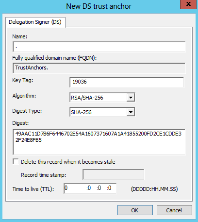 DNS Manager - New DS trust anchor