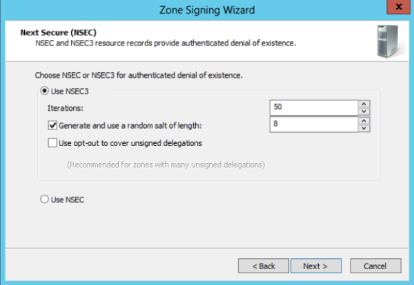 Zone signing wizard